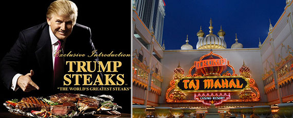 Trump Steaks (left) and Trump Entertainment Resorts were among the real estate heavyweight's less successful ventures.