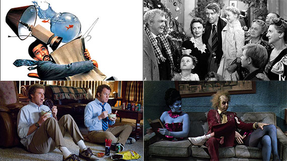 "Clockwise from left: ""Moving,"" ""It's a Wonderful Life,"" ""Beetlejuice"" and ""Step Brothers"""