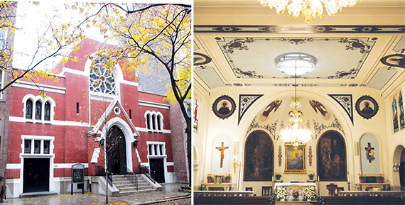 Our Lady of Peace on East 62nd Street is slated to merge with St. John the Evangelist nearby. The facade of the neighborhood church is landmarked, but that likely won't deter developers, if it goes up for sale.