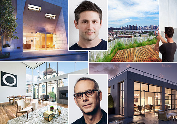Clockwise from top left: 35XV (credit: FXFOWLE and William NY), Marc Kushner, Yotel in Williamsburg (credit: HWKN), The Sterling Mason in Tribeca (credit: Morris Adjmi Architects), Morris Adjmi and 201 North 11th Street (credit: Atelier New York Architecture)