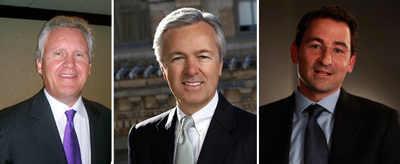 From left: General Electric CEO Jeffrey Immelt, Wells Fargo CEO John Stumpf and Blackstone's Global Head of Real Estate Jonathan Gray