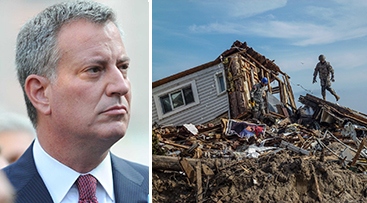 Mayor Bill de Blasio and a destroyed Rockaway home