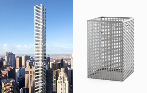 Rendering of 432 Park Avenue (credit: Rafael Vinoly Architects) and a Josef Hoffmann-designed trash basket