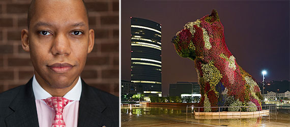 From left: Wealth-X Mykolas Rambus and a Jeff Koons topiary