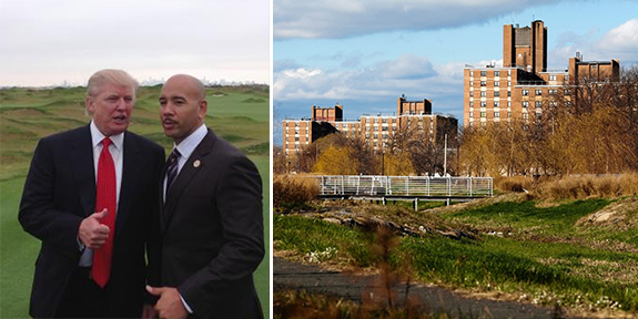Donald Trump and Bronx Borough President Ruben Diaz Jr. at Ferry Point and the Throggs Neck Houses
