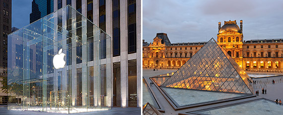 Apple store at 767 Fifth Avenue in Midtown and the Louvre in Paris