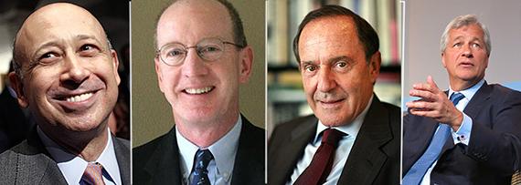 From left: Goldman Sachs' Lloyd Blankfein, Benchmark's Bruce Dunlevie, Mort Zuckerman and JP Morgan Chase's Jamie Dimon