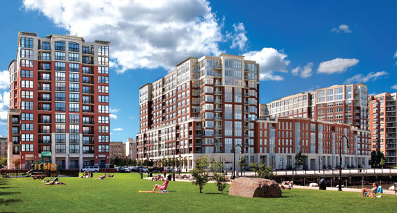 Maxwell Place, which will be a four-building condo complex on the Hudson River, has 755 units completed so far.