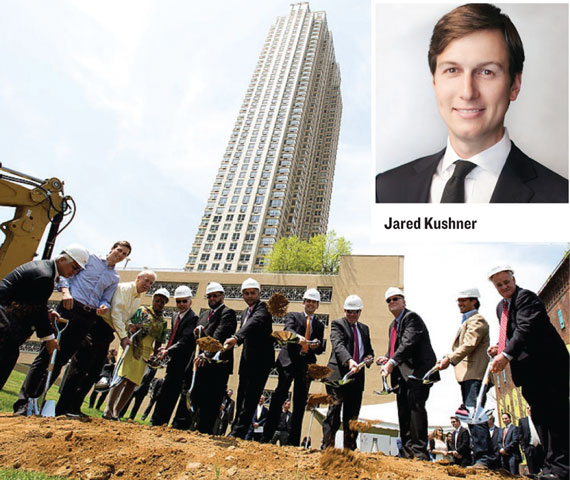 Jersey City officials help Jared Kushner and partners break ground on 50-story Trump Bay Street.
