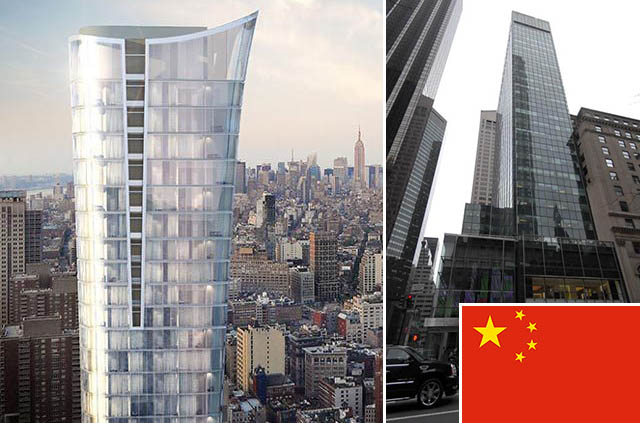 Rendering of 111 Murray Street (credit: Kohn Pedersen Fox) and 717 Fifth Avenue (inset: Chinese flag)