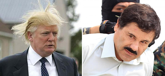 "From left: Donald Trump and Joaquín ""El Chapo"" Guzmán"