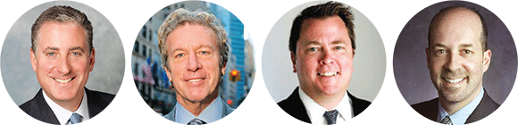 Left to right: JLL's Robert Gibson; Ripco's Jeffrey Paisner; CBRE's Richard Hodos; Newmark's Jeffrey Roseman