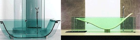 Glass bathtubs