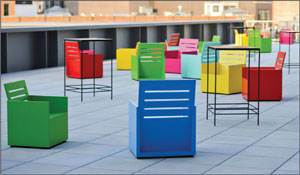 """""""Sunset,"""" brightly colored chairs by artist Mary Heilman, is on display in the Whitney's largest outdoor gallery."""
