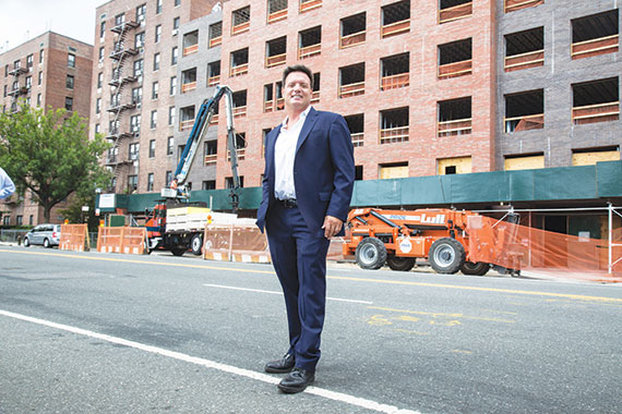 Developer Mark Stagg at the under-construction 6155 Broadway,