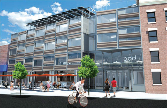 Garrison Architects' rendering of the Pod Hotel in Williamsburg