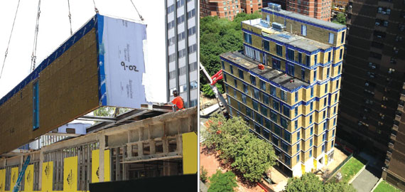 Modules made in Brooklyn are put in place for Carmel Place, the micro-apartment project in Kips Bay