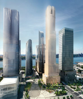 A rendering of 35 Hudson Yards, center, which Corcoran Sunshine is working on for Related.