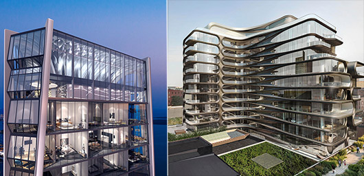 From left: Zaha Hadid's renderings of One Thousand Museum in Miami and 520 West 28th Street in Chelsea.