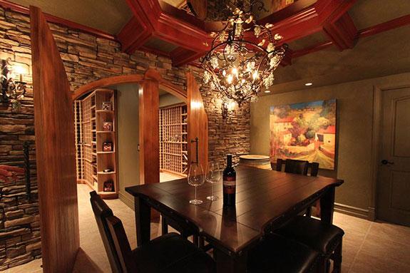A wine-tasting room