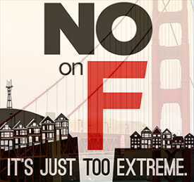 A placard opposing San Francisco's Proposition F