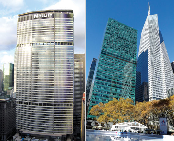 From left: The MetLife building and 3 Bryant Park