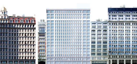 A rendering of a two-building, 288-unit project at 7 West 21st Street