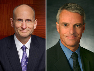 From left: Robert Sulentic, CEO of CBRE, and Colin Dyer, CEO of JLL