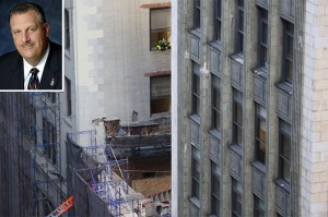 Collapse at 25 West 38th Street (credit: @Hennesseyedit/Twitter) (inset: Gary LaBarbera)