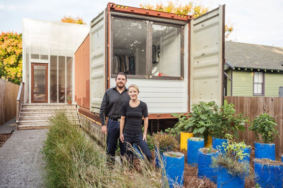Seth Rodewald-Bates and Elisabeth Davies at their shipping container home in the Carrollton neighborhood of New Orleans