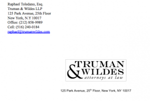 An excerpt from the letter that Toledano allegedly sent an NYC landlord