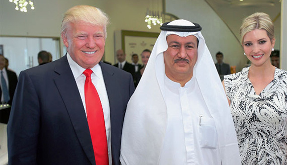 From left: Donald Trump, Damac Properties CEO Hussain Sajwani and Ivanka Trump