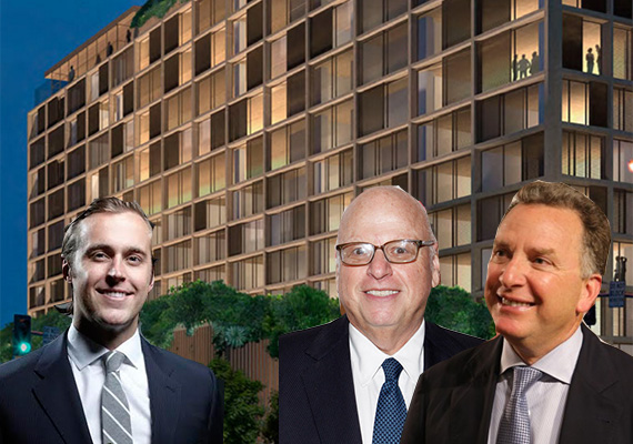 From left: Dustin Stolly, Howard Lorber, Steve Witkoff and a rendering of the West Hollywood Edition hotel