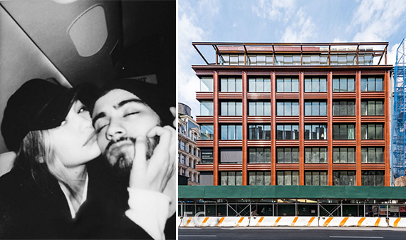 Gigi Hadad, Zayn Malik (credit: Zayn Malik/Instagram) and a rendering of 10 Bond Street in Noho