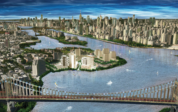 A rendering of the Durst Organization's Hallets Point project in Astoria