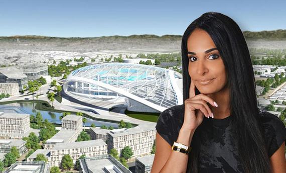 A rendering of the Los Angeles Rams' stadium in Inglewood and Partners Trust broker Lee Mintz