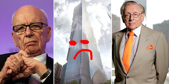 From left: Rupert Murdoch, 2 World Trade Center (credit: BIG) and Larry Silverstein