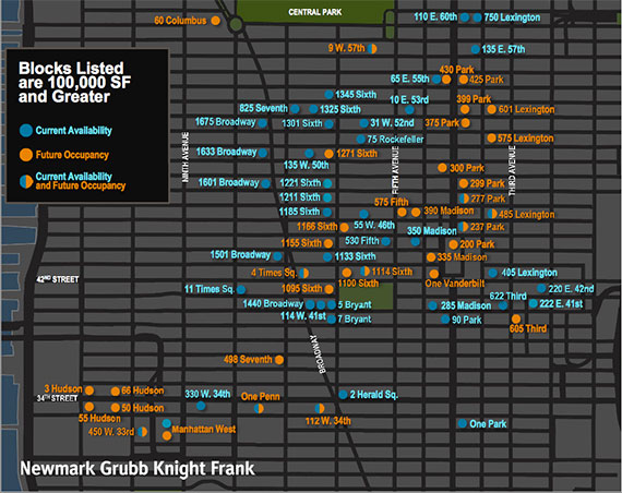 A map of large office blocks in Midtown (credit: Newmark Grubb Knight Frank)