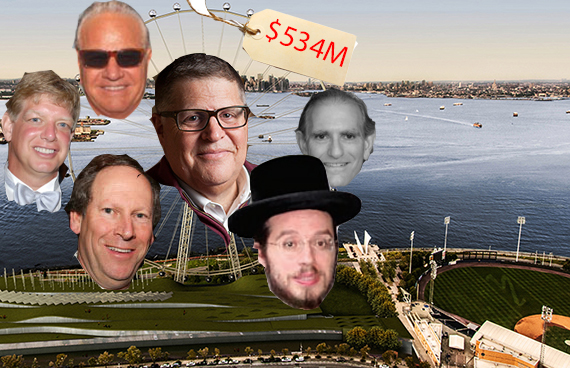 Clockwise from top: New York Wheel investors Rich Marin, Eric Kaufman, Meir Laufer, Jay Anderson, Lloyd Goldman and Joseph Nakash