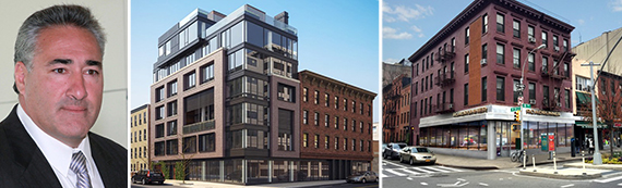 From left: Peter DiTommaso, rendering of 119-123 Kent Avenue in Williamsburg and 197 Eighth Avenue in Chelsea