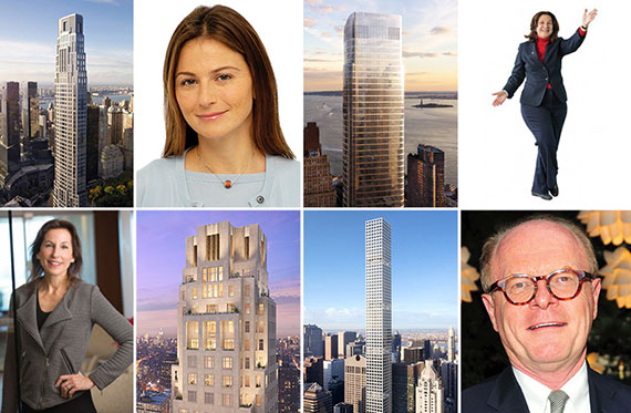 Clockwise from top left: 220 Central Park South, Deborah Kern, 50 West, Roberta Axelrod, Richard Wallgren, 432 Park, <a class=