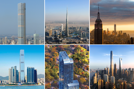 Clockwise from top left: 432 Park Avenue, the Burj Khalifa, the Empire State Building and One World Trade Center, Shanghai Tower, One57 and the International Commerce Centre