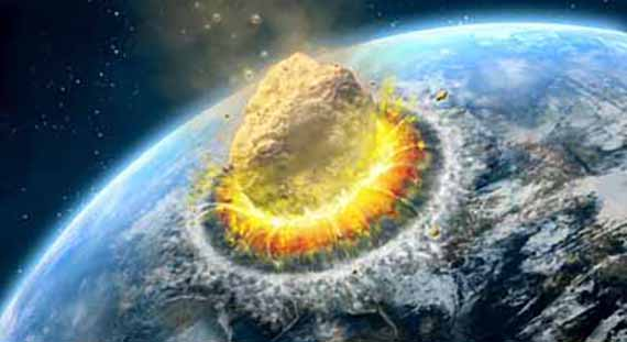 Big asteroid crashing on the surface of an Earth-like planet. Digital illustration.