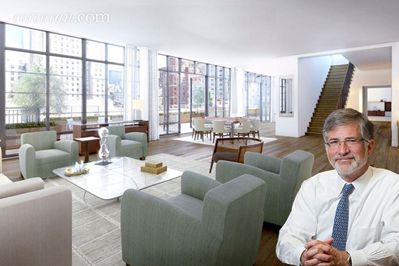 Peter Barbey and his new apartment at the Greenwich Lane condominium