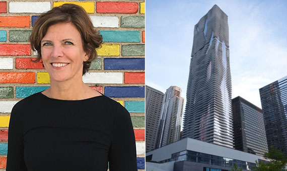Jeanne Gang and her most famous work, the 859-foot-tall Aqua, in Chicago