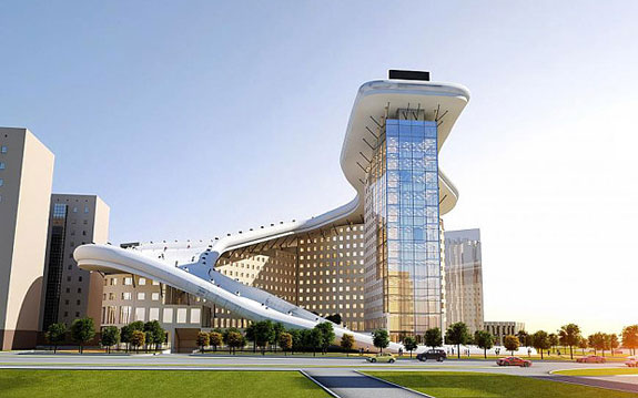 A rendering of the building in Astana, Kazakhstan