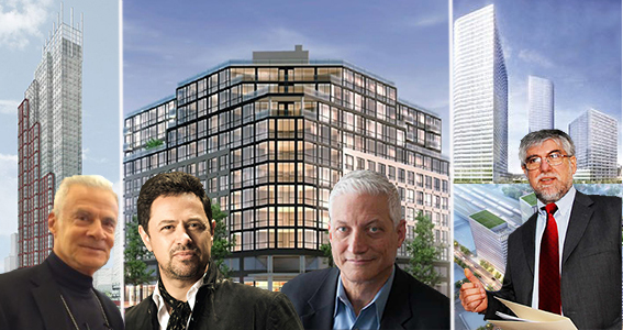 From left: 28-10 Jackson Avenue, 333 Schermerhorn Street, 1134 Fulton Street and 22-44 Jackson Avenue (inset from left: Joseph Coppola, Eran Chen Guy Geier and Karl Fischer)