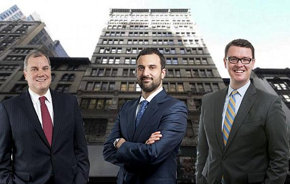 From left: Hodges Ward Elliott's Paul Gillen, Will Silverman and Daniel Parker (background: 31 West 27th Street)