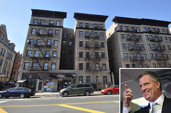 343 Saint Nicholas Avenue in Hamilton Heights, where property tax payments will rise 26% this year (inset: Mayor Bill de Blasio)