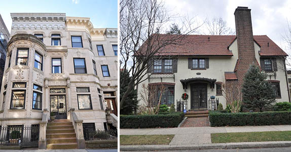 From left: 586 Fourth Street and 39 Winter Street in Forest Hills Gardens